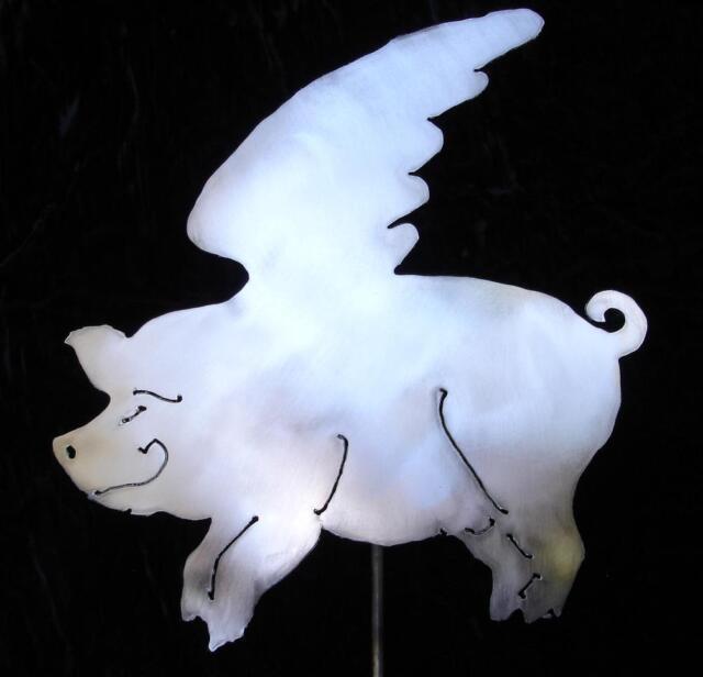 Flying Pig When Pigs Fly Metal Garden Yard Art Stake