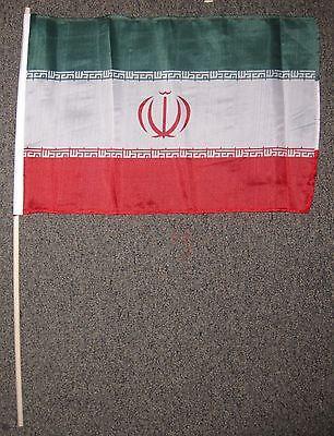 """IRAN FLAG 12X18 INCHES 12/"""" X 18/"""" IRANIAN WOOD STICK NEW W59"""