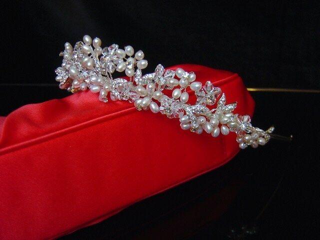 UK Sparkling FRESHWATER PEARL CRYSTAL TIARA Bridal Wedding Crown sj2993 IVORY