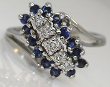 GORGEOUS 14K WHITE GOLD RING WITH 0.50 CTW SAPPHIRE AND DIAMONDS #A10