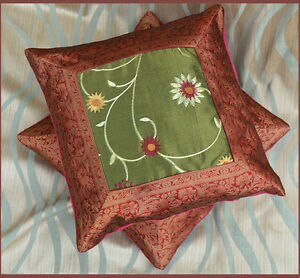 Pair (2) of Embroidered hand made Red Brocade Border Green Silk Pillow Cover!