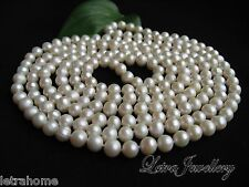 "47"" 120cm Long Freshwater AAA White Cream Pearl Necklace Gift RRP £100 Plus"