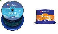 50 CD -R VERBATIM  52X 700 MB  E 50 DVD -R 16X Advanced Azo dvd  4.7GB ORIGINALI