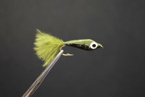 Size 10 2 Flies 1//2 /& 1//2 OLIVE /& BLACK Epoxy Minnow Fly Fishing Flies