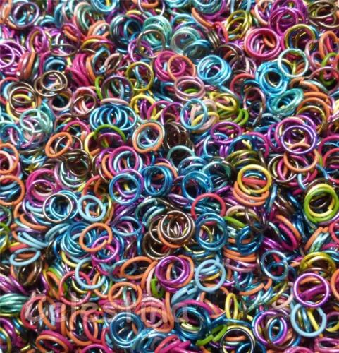 200 5-6mm Mixed Colours Jump Rings Close Unsoldered Bright Hoops Electrophoresis