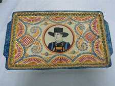 """RARE SIGNED HENRIOT QUIMPER FAIENCE CORBEILLE ROSE 19"""" X 11"""" TRAY w MAN PORTRAIT"""