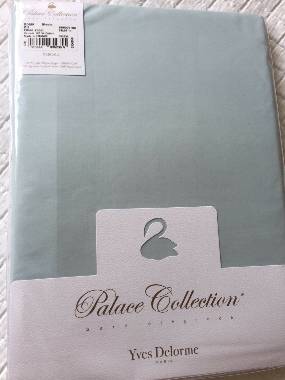 Yves Delorme ROMA BlauTE FITTED SHEET PALACE COLLECTION SUPERKING LUXURY