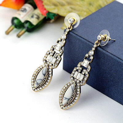 WHE829 White Chapel Bridal Vintage Antique Marquise Rhinestone Dangling Earrings