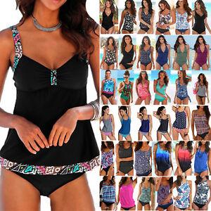 Damen Tankini Bikini Set Push Up Badeanzug Bademode Schwimmanzug Übergröße HJ