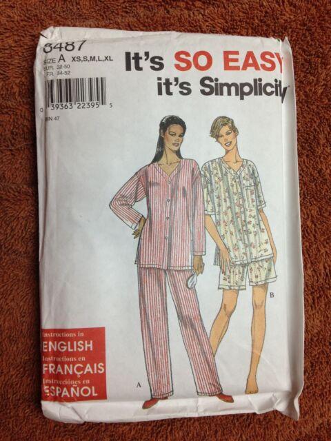 d34c9c862c Simplicity 8487 Sewing Pattern It s SO EASY Misses  Sleepwear Size ...