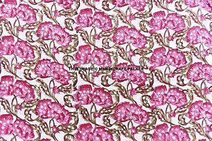 2-5-Yard-Indian-Floral-Hand-Block-Print-Fabric-100-Cotton-Jaipuri-Decor-Fabric