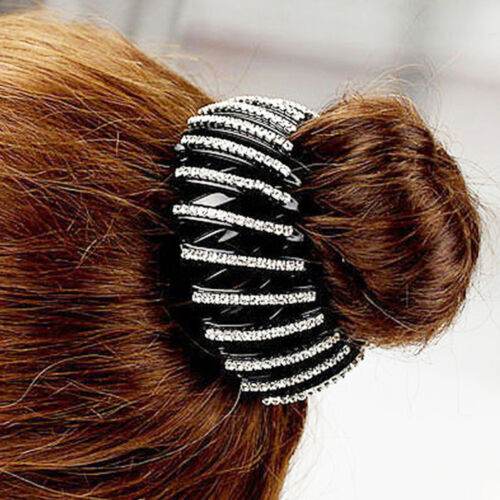 Womens Crystal Expanding Tail Hair Bun Holders Clips Grips Clamps Claw Hairpin