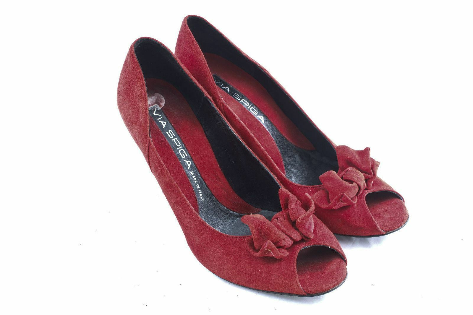 marchio in liquidazione VIA SPIGA rosso rosso rosso Suede Open Toe Bowed Heels Dimensione 8.5 Made in   negozio online
