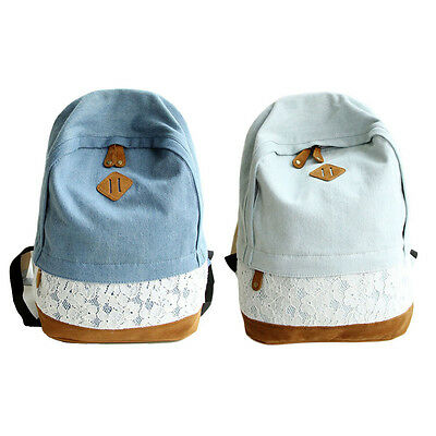 Fashion Women Backpack Lace Denim Canvas Shoulder Bags Back to School Bookbags