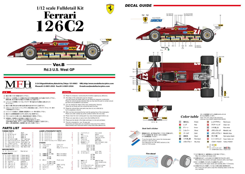 Modell - fabrik hiro k434 13.12 uhr  kamelhaar ferrari 126c2 ver b 1982 rd.3 us west -   27   28.