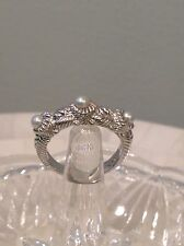 JUDITH RIPKA STERLING 3 PEARL RING SIZE 8