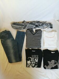 LOT-de-6-vetements-fille-14ans-tee-shirt-rock-et-ange-noir-et-blanc