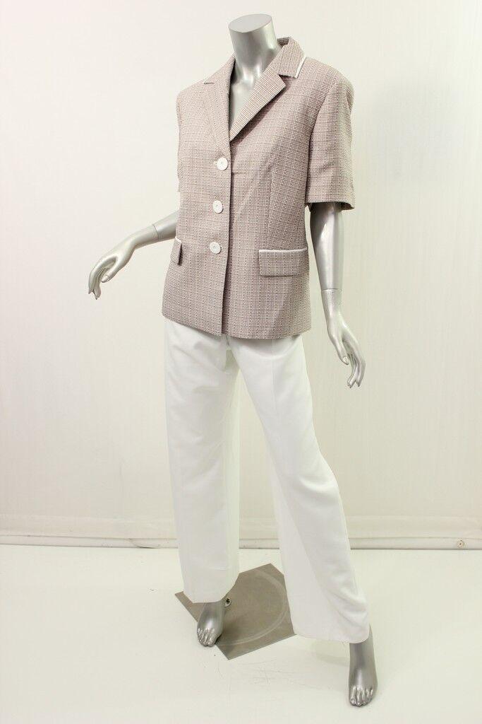 LE COSTUME kaki vanille Texturé Bouton Pantalon Costume 18