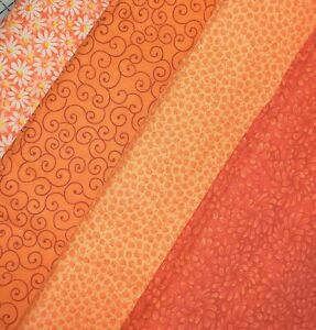 Orange-Color-Fat-Quarter-1-Mask-Fabric-Precut-Quilting-Cotton-Set-of-4