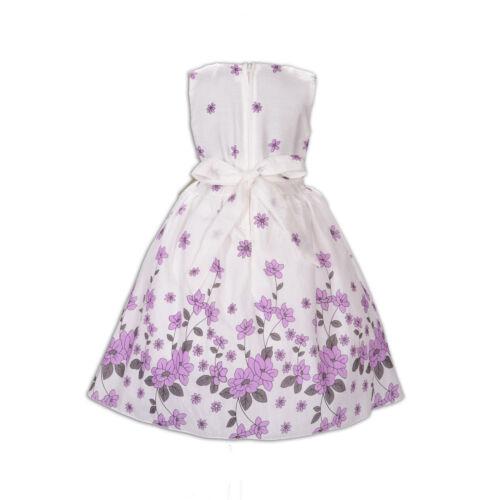 Nuovo Bambine Fiore Vestito Festa in Rosso Lilla Blu 5 6 7 8 9 10 Anni
