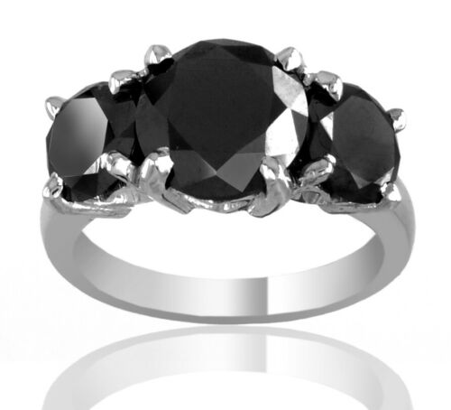 Birthday Gift ! 4 ct Brilliant Cut Black Diamond Solitaire Ring