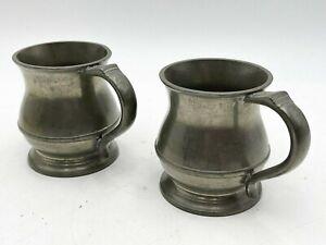 2x antike G.R. und Crown Half Pint Zinn Becher braun & englefield London-f8
