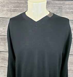 Robert-Graham-Mens-XL-100-Merino-Wool-Black-V-Neck-Long-Sleeve-Sweater-Pullover