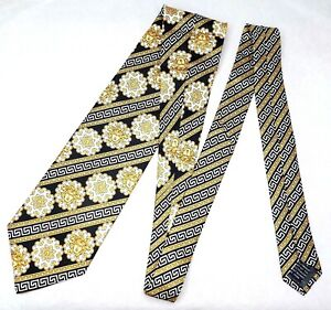 GIANNI VERSACE tie black yellow gold striped white medusa head baroque silk