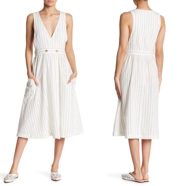 8f7d73fba2 NWT FREE PEOPLE Women's Diana Sleeveless Black Combo Pin Striped Wrap Dress  ...