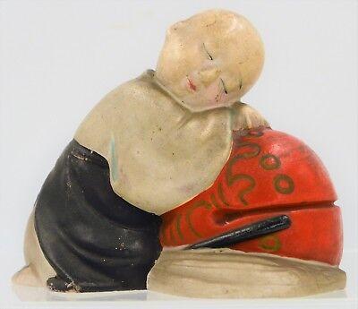 Gut Ausgebildete Japanische Miniatur Statue Ton Puppe Wabi Sabi Gosho Schlafsack Junge Antik