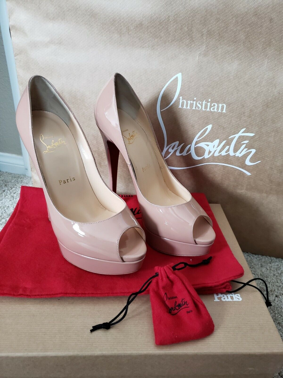 NEW Christian Louboutin schuhe, Lady Peep Nude 150 Patent leather BOXED Größe 38.5