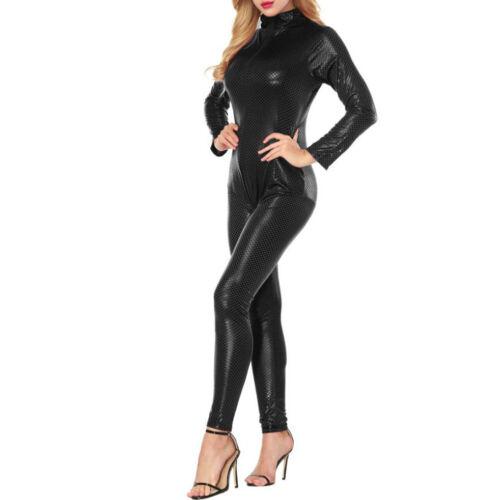 Women Faux Leather Bodycon Bodysuit Catsuit Jumpsuit Lingerie Clubwear Costumes