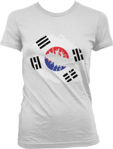 Nationality Korea Pride Cute Design Juniors T-shirt Korean Flag Lips