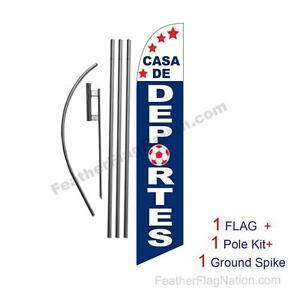 Casa De Deportes 15ft Feather Banner Swooper Flag Kit with pole+spike