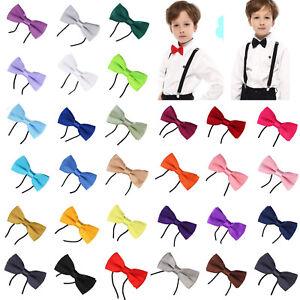 KIDS-Plain-Bow-Tie-Childrens-Smart-Fancy-Dress-Boys-Black-Wedding-Dickie-PreTied