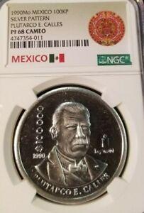 1990-MEXICO-100KP-SILVER-PATTERN-PLUTARCO-E-CALLES-NGC-PF-68-CAMEO-HIGH-GRADE