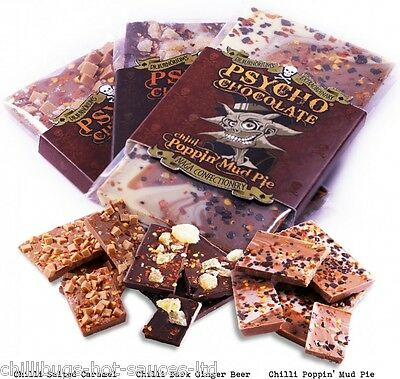 "Food & Beverages Candy, Gum & Chocolate With Naga Jolokia Ghost Chilli"" 3 X 100g Bars Traveling Nice ""psycho Chocolate"