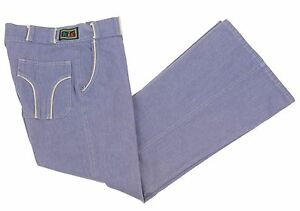 Vintage 70s H.I.S his Bell Bottom Jeans Light Blue Soft Denim Hipster Disco Mens