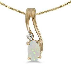 10k-Yellow-Gold-Oval-Opal-amp-Diamond-Wave-Pendant-Chain-NOT-included