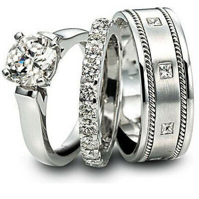 2 00 Ct Round Cut Diamond His Her Engagement Trio Ring Set Real 10k White Gold Ebay