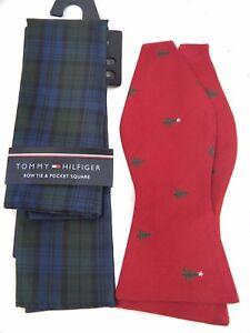 bebdfa2a6dad Tommy Hilfiger Bow Tie & Pocket Square Set Red Green Blue Plaid ...