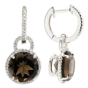 14K-ROSE-YELLOW-OR-WHITE-GOLD-PAVE-DIAMOND-SMOKY-QUARTZ-DANGLE-DANGLING-EARRINGS