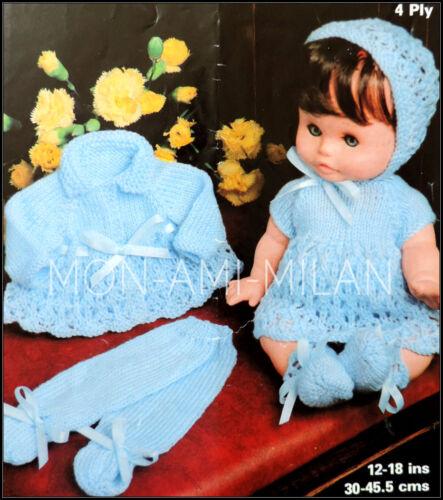 Muñecas del bebé ropa Tejer patrón Chaleco Pantalones Leggings Chaqueta Vestido de copia Bonnet