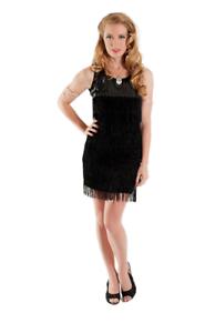 Black-Purple-flapper-dress-20-039-s-costume-latin-salsa-dance-burlesque-Medium-XXL