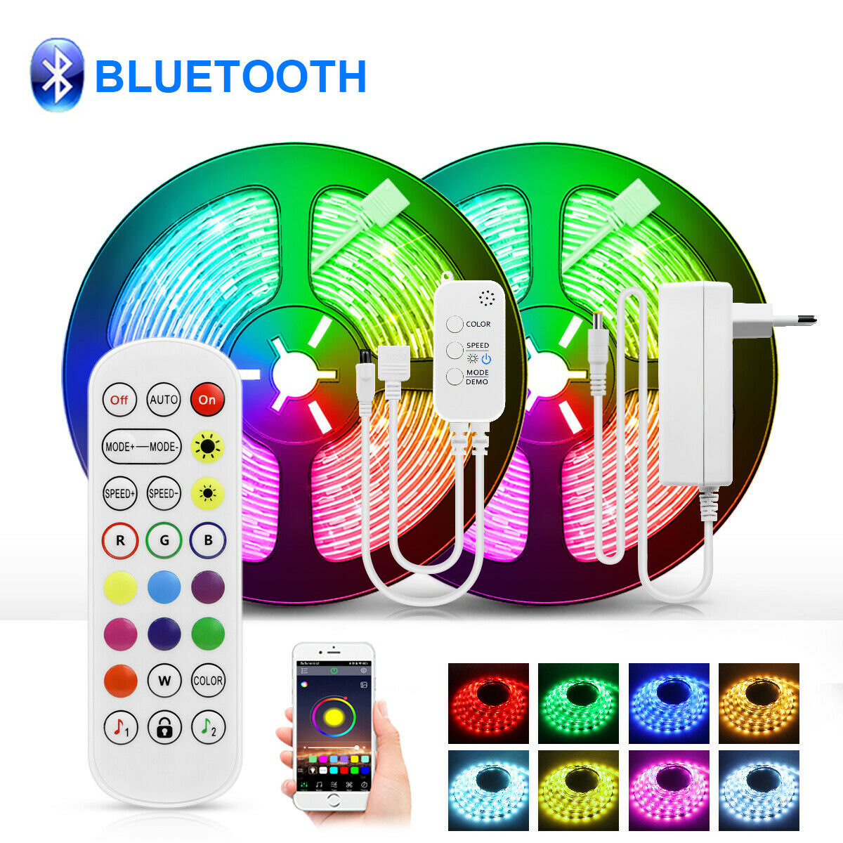 Bluetooth APP Control LED Strip lights RGB 5050SMD Voice and