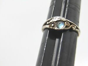 Vintage-Sterling-Southwestern-Feather-Ring-Blue-Stone-Size-5-1-47gr-1970-039-s