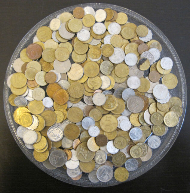 454 Grams Of Mixed Foreign World Coins Private Collection Lot 1 Pound Libra