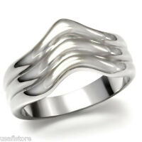 Triple Curved Band Silver Stainless Steel Ladies No Stone Ring