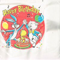 Looney Tunes Red Small Napkins (30) Vintage Birthday Party Supplies Beverage