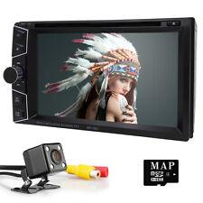 Double 2DIN GPS Navigation Car Stereo DVD Player Bluetooth Auto Radio FM USA+cam